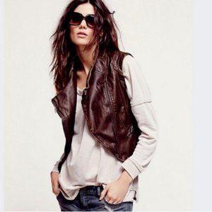 Anthropologie JKT Brown Vegan Leather Vest